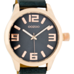 Timepieces horloge C1157 donkerblauw/rose goud