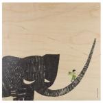 Houten poster 'boy on elephant'