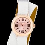 Timepieces horloge C6641 wit/rose goud met dubbel bandje