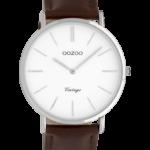 Vintage horloge C9830 bruin/wit zilver