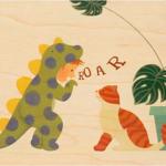 Houten postkaart 'roar'