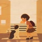 Houten postkaart 'kitty'